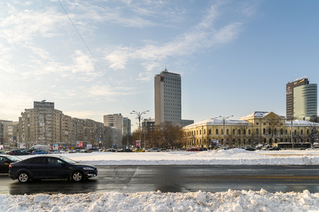 heavy snow: BUCHAREST, ROMANIA - JANUARY 12, 2017: Sunny Winter Day Following A Strong Snow Storm In Downtown Bucharest City.