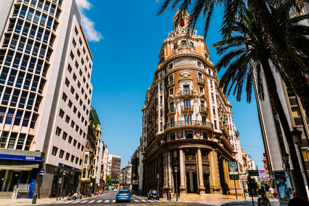 VALENCIA, SPAIN - JULY 27, 2016: Founded in 1900 Bank of Valencia (Banco de Valencia) is the sixth bank in Spain, and has its headquarters in downtown city of Valencia. Redakční