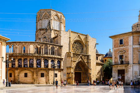 VALENCIA, SPAIN - AUGUST 01, 2016: Plaza de la Virgen (Cathedral Square) is a large square in Valencia located in a central location of the city.
