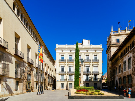 VALENCIA, SPAIN - AUGUST 01, 2016: Plaza de Manises (Manises Square) In Downtown City Of Valencia In Spain.