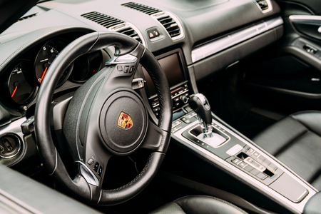 drivers seat: BUCHAREST, ROMANIA - MAY 04, 2017: Founded in 1931 Porsche is a German automobile manufacturer specializing in high-performance sports cars, SUV and sedans.