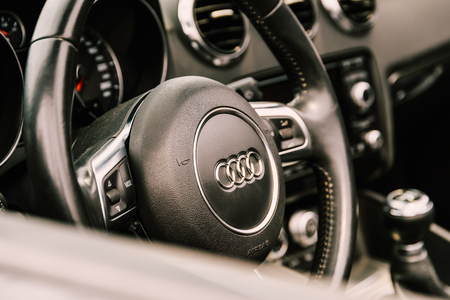 drivers seat: BUCHAREST, ROMANIA - MAY 04, 2017: Founded in 1910 Audi is a German automobile manufacturer that designs, engineers, produces, markets and distributes luxury vehicles and is member of Volkswagen Group