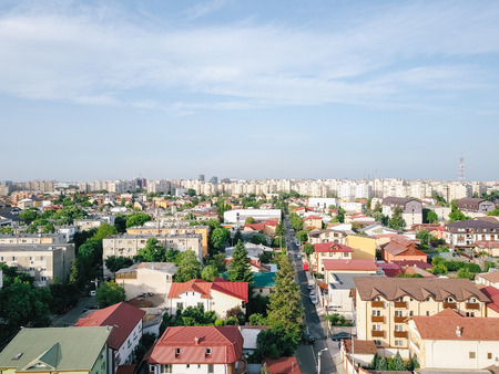 Aerial Panoramic View Of Bucharest City In Romania