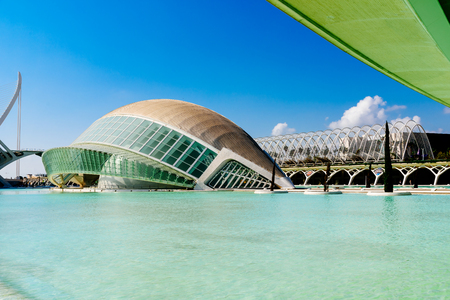 hemispheric: VALENCIA, SPAIN - JULY 22, 2016: Calatrava City Of Arts And Sciences In Downtown City Of Valencia.