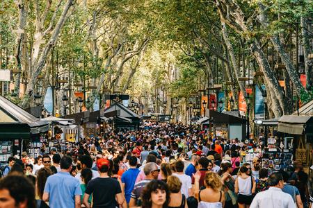 BARCELONA, SPAIN - AUGUST 04, 2016: Crowd Of People In Central Barcelona City On La Rambla Street.