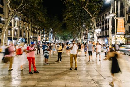 ramblas: BARCELONA, SPAIN - AUGUST 04, 2016: Crowd Of People In Central Barcelona City On La Rambla Street.