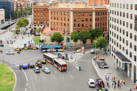 BARCELONA, SPAIN - AUGUST 05, 2016: Aerial Panoramic View Of High Traffic And People In Downtown Barcelona City Of Spain. Editorial