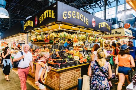 BARCELONA, SPAIN - AUGUST 05, 2016: Fresh Fruits For Sale In Barcelona Market (Mercat de Sant Josep de la Boqueria), a large public market and a tourist landmark with entrance from La Rambla street. Editorial