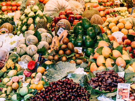 BARCELONA, SPAIN - AUGUST 05, 2016: Fresh Fruits For Sale In Barcelona Market (Mercat de Sant Josep de la Boqueria), a large public market and a tourist landmark with entrance from La Rambla street. Editorial