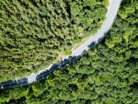 Aerial View Of Road Running Through Carpathian Mountains Forest Фото со стока - 82368313