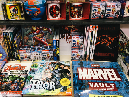 BUCHAREST, ROMANIA - MAY 06, 2017: Famous American Comic Magazines For Sale In Local Bookstore.
