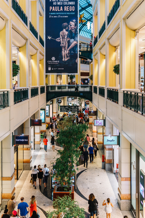 luxurious: LISBON, PORTUGAL - AUGUST 09, 2017: People Crowd Rush For Summer Sale In Shopping Luxury Mall Interior.
