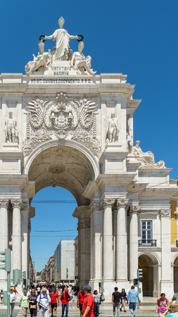 LISBON, PORTUGAL - AUGUST 11, 2017: Built to commemorate the city reconstruction after the 1755 earthquake, Rua Augusta Arch is a triumphal arch historical building and visitor attraction in Lisbon.