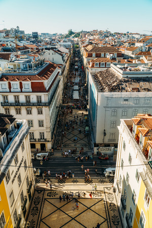 LISBON, PORTUGAL - AUGUST 11, 2017: Aerial View Of Lisbon City In Portugal From Rua Augusta Triumphal Arch Viewpoint.