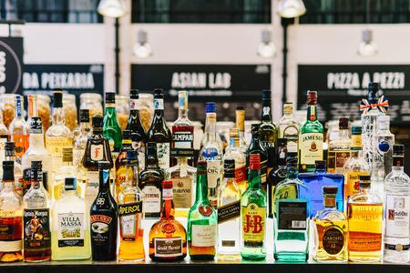 LISBON, PORTUGAL - AUGUST 11, 2017: Alcohol Bottles On Restaurant Drink Bar