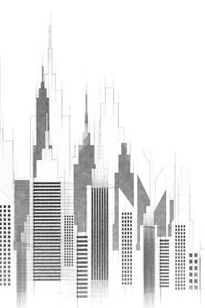 Modern American City Buildings And Skyscrapers Illustration Reklamní fotografie - 96988758
