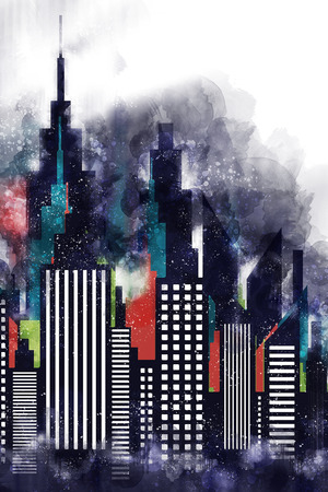 American City Buildings And Skyscrapers Watercolor Illustration Stock Photo