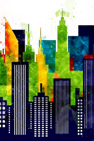 American City Buildings And Skyscrapers Watercolor Illustration Banque d'images