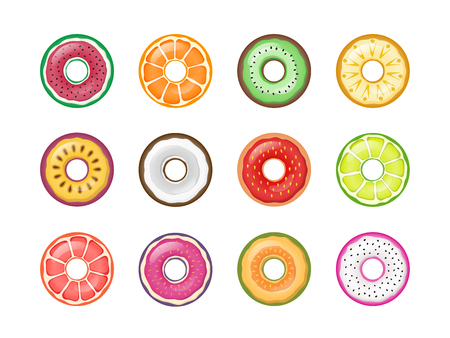 Colorful fruit donuts vector set collection isolated on white background.