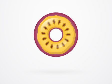 Passion Fruit Donut Fruity Vector