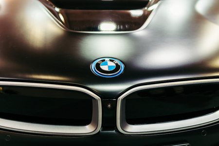 BUCHAREST, ROMANIA - MARCH 28, 2018: BMW Sign Close Up. Bayerische Motoren Werke AG commonly known as BMW is a German automobile, motorcycle and engine manufacturing company founded in 1916.
