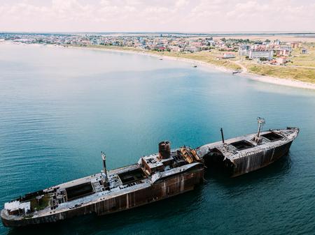 Aerial Drone View Of Old Shipwreck Ghost Ship Vessel Archivio Fotografico