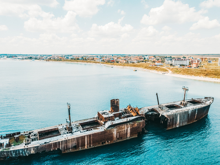 Aerial Drone View Of Old Shipwreck Ghost Ship Vessel Stock Photo