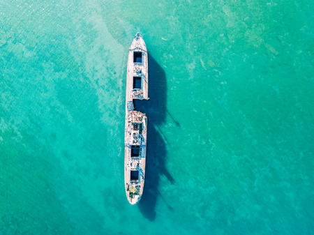 Aerial Drone View Of Old Shipwreck Ghost Ship Stock Photo