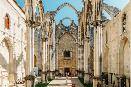 LISBON, PORTUGAL - AUGUST 21, 2017: Convent Of Our Lady Of Mount Carmel (Convento da Ordem do Carmo) Is A Gothic Roman Catholic Church Built In 1393 In Lisboa City