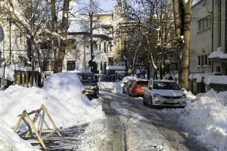 BUCHAREST, ROMANIA - JANUARY 12, 2017: Beautiful Sunny Day In Bucharest After A Heavy Winter Snow