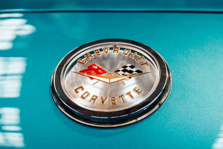 BUCHAREST, ROMANIA - OCTOBER 21, 2016: From 1953 the Corvette is a sports car manufactured by Chevrolet division of American automotive conglomerate General Motors 報道画像