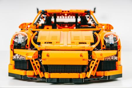 BUCHAREST, ROMANIA - APRIL 02, 2019: Porsche 911 GT3 RS Lego Model