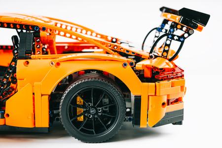 BUCHAREST, ROMANIA - APRIL 02, 2019: Porsche 911 GT3 RS Lego Model Editorial