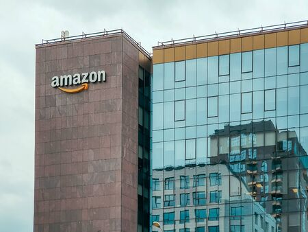 IASI, ROMANIA - MAY 05, 2019: Amazon American Multinational Based in Seattle, Washington Is An E-Commerce, Cloud Computing And Artificial Intelligence Company