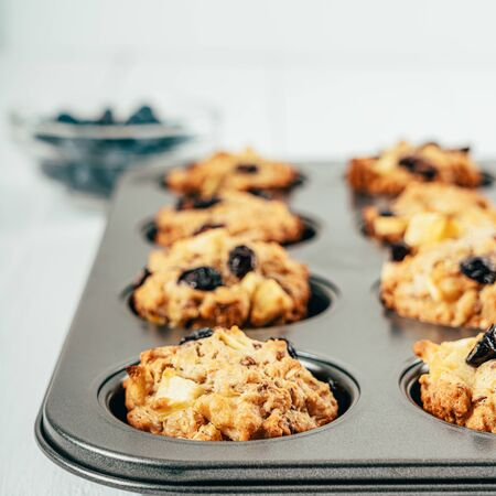 Blueberry And Apple Fruity Cupcakes Muffins Stok Fotoğraf