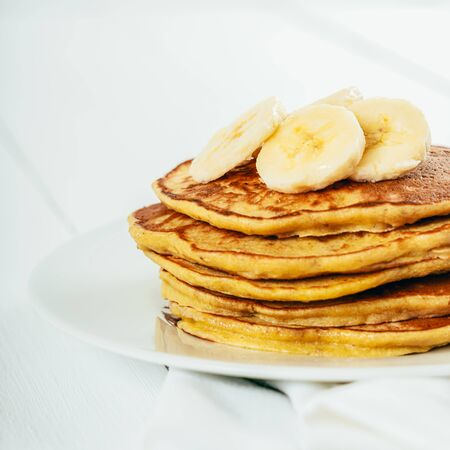 Banana And Coconut Pancakes Stock fotó
