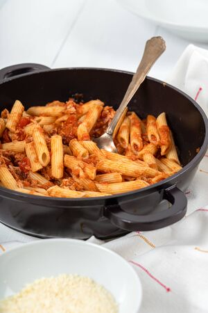 Tomato And Tuna Fish Penne Pasta With Parmesan