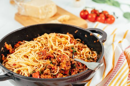 Spaghetti Bolognese With Carrots, Pepper and Courgette