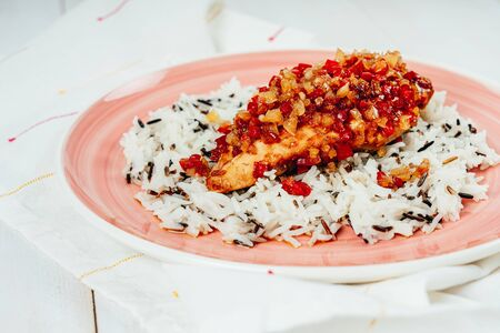 Oven Baked Chicken With Red, Yellow Pepper And Rice