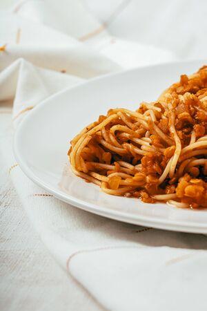 Slow Cooked Lentil Spaghetti Bolognese Фото со стока
