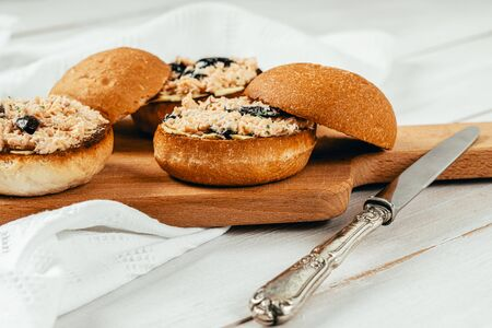 Salmon Sandwiches With Black Olives