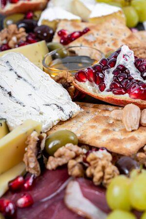 Food Platter on White Marble Imagens
