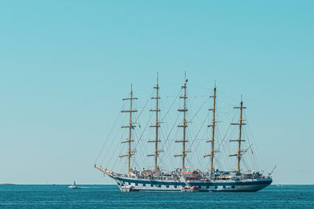 Antique Ship In The Ocean 写真素材