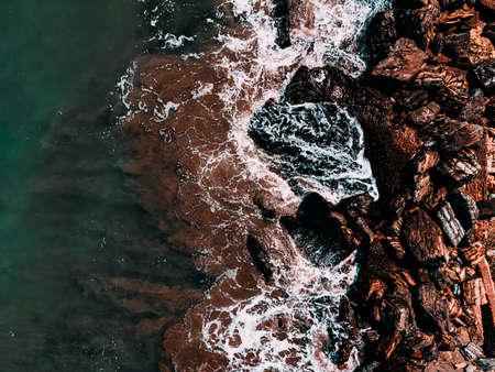 Aerial View Seascape, Ocean Waves Crashing, Rocky Drone Photography