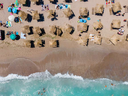 Aerial Beach, People And Umbrellas On Beach Photography, Blue Ocean Landscape, Sea Waves