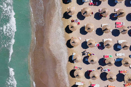 Aerial Beach, People And Colorful Umbrellas On Beach Photography, Blue Ocean Landscape, Sea Waves