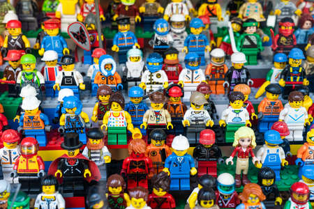 BARCELONA, SPAIN - JUNE 08, 2019: Lego People Mini Characters Closeup In Store Redakční