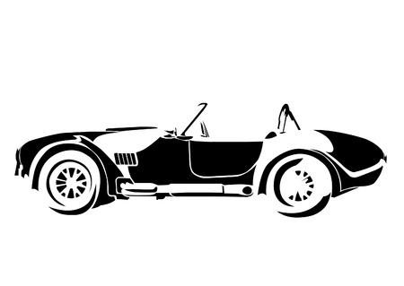 antique car: old vintage car isolated on white background Illustration