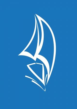 stylized yacht  white on blue background