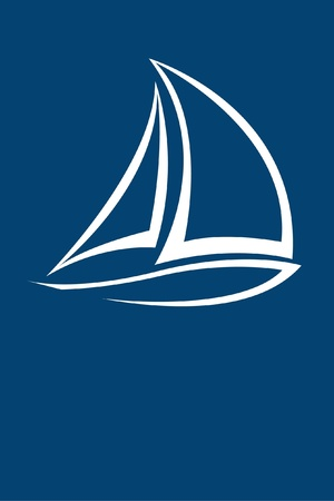 sail boat: stylized yacht  white on blue background
